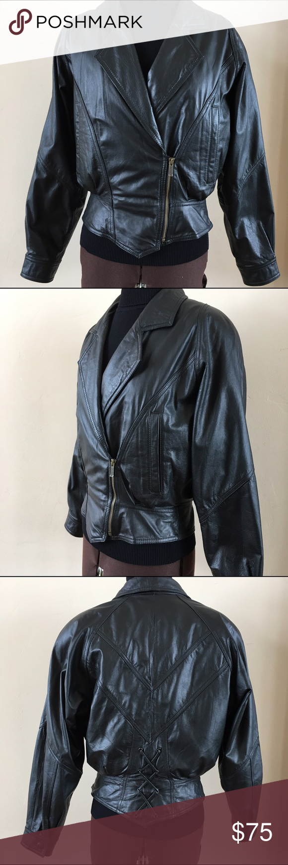 WILSONS LEATHER MOTO JACKET WITH THINSULATE LINING Black