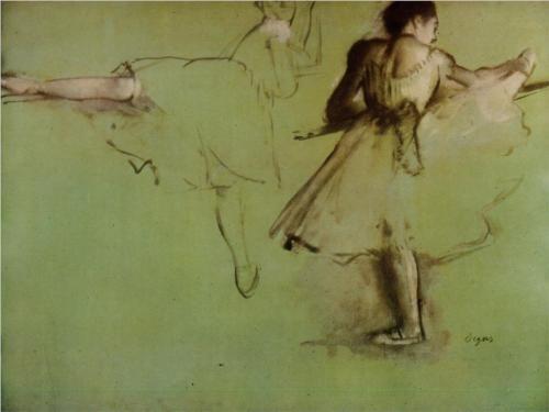 Dancers at the Barre (study) - Edgar Degas