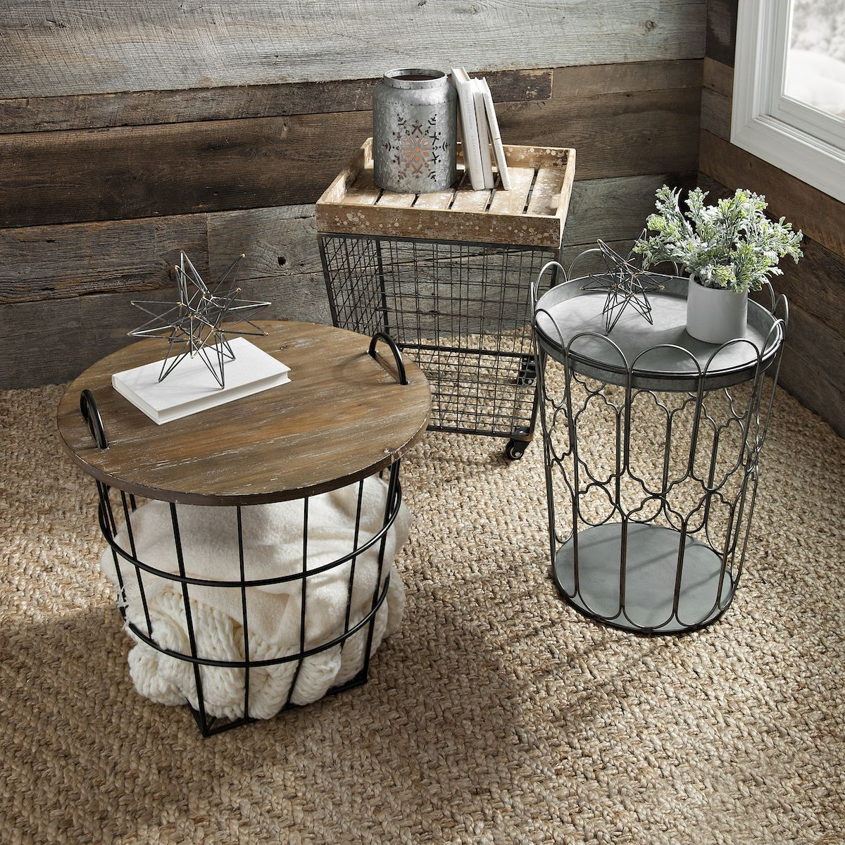 Industrial wire crate accent table clutter crates and blanket