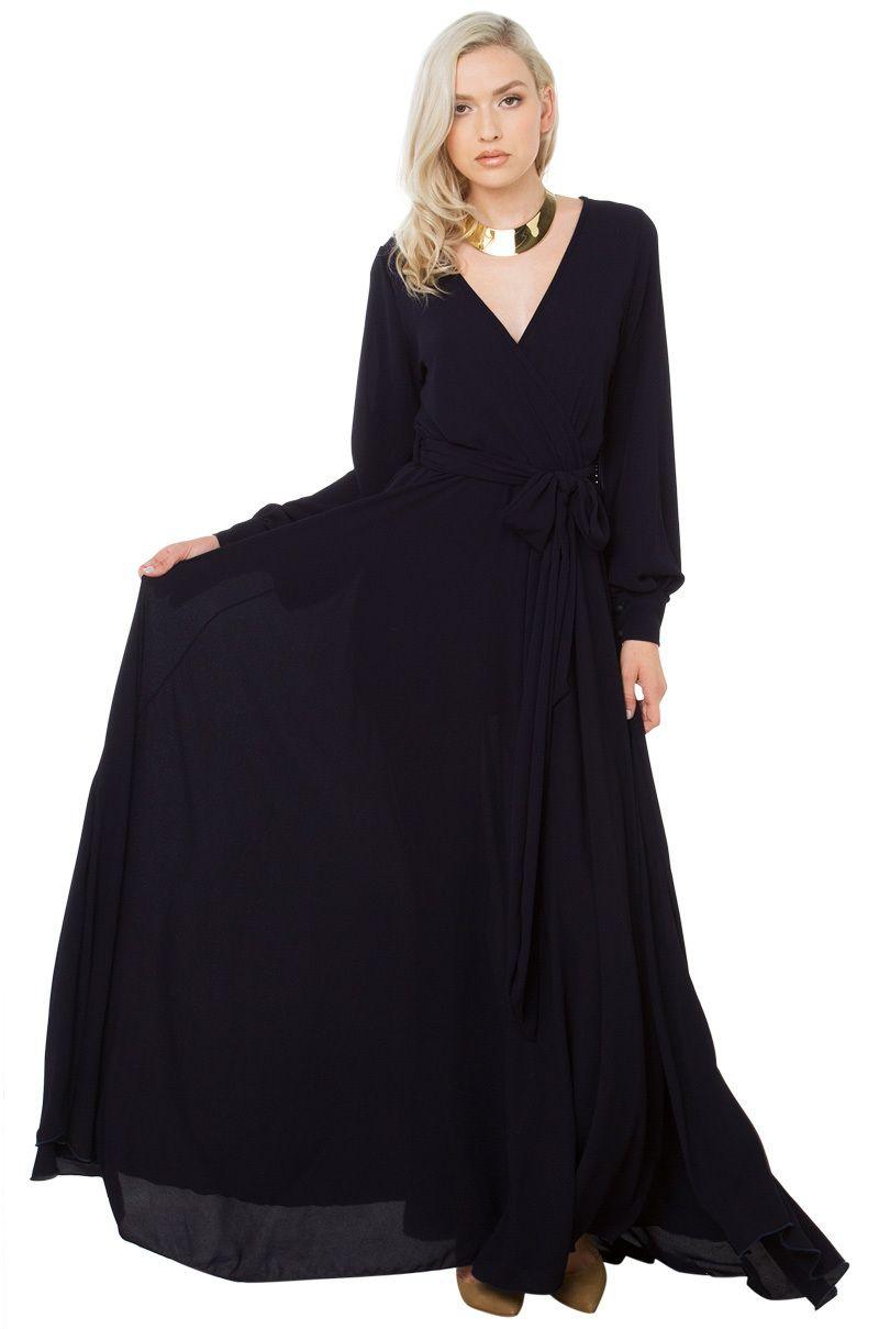 Flowy deep v wrap belted maxi dress in navy akira maxi