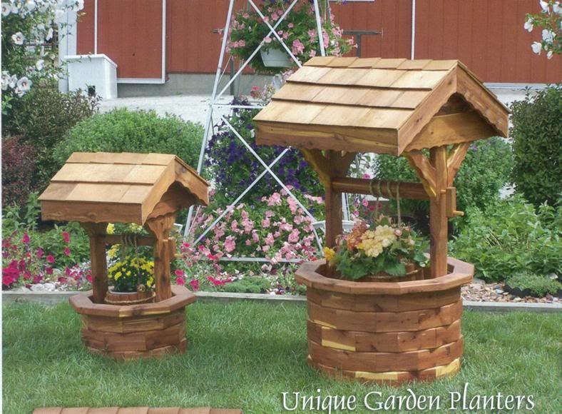 Amish Wooden Wishing Well Garden Planter Yard Decor Lg