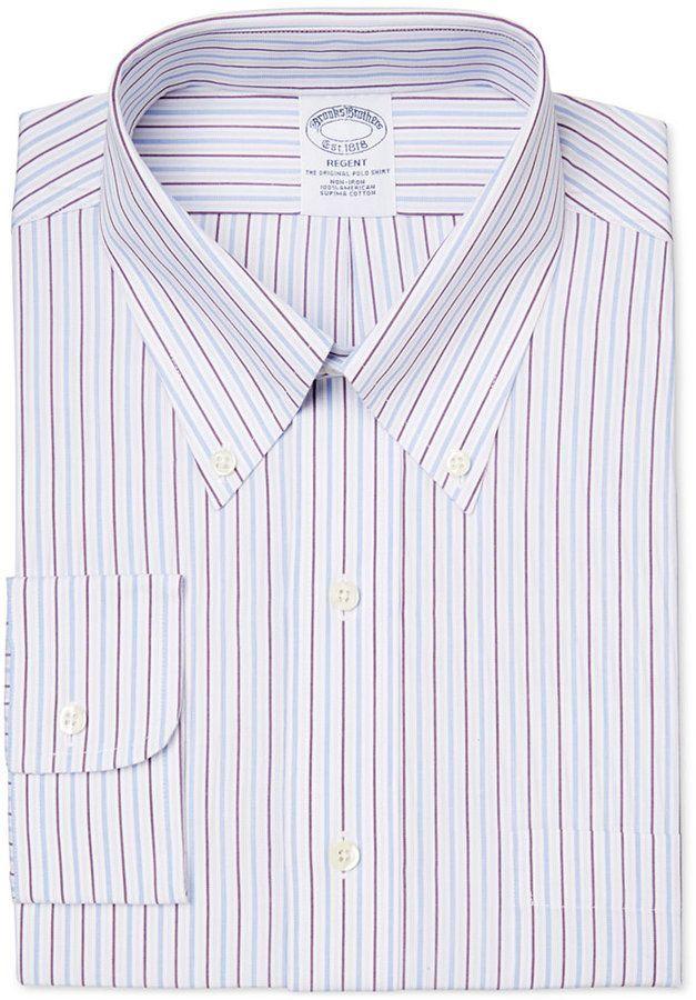 59b41737 Brooks Brothers Men's Regent Classic-Fit Non-Iron Purple Striped Dress Shirt