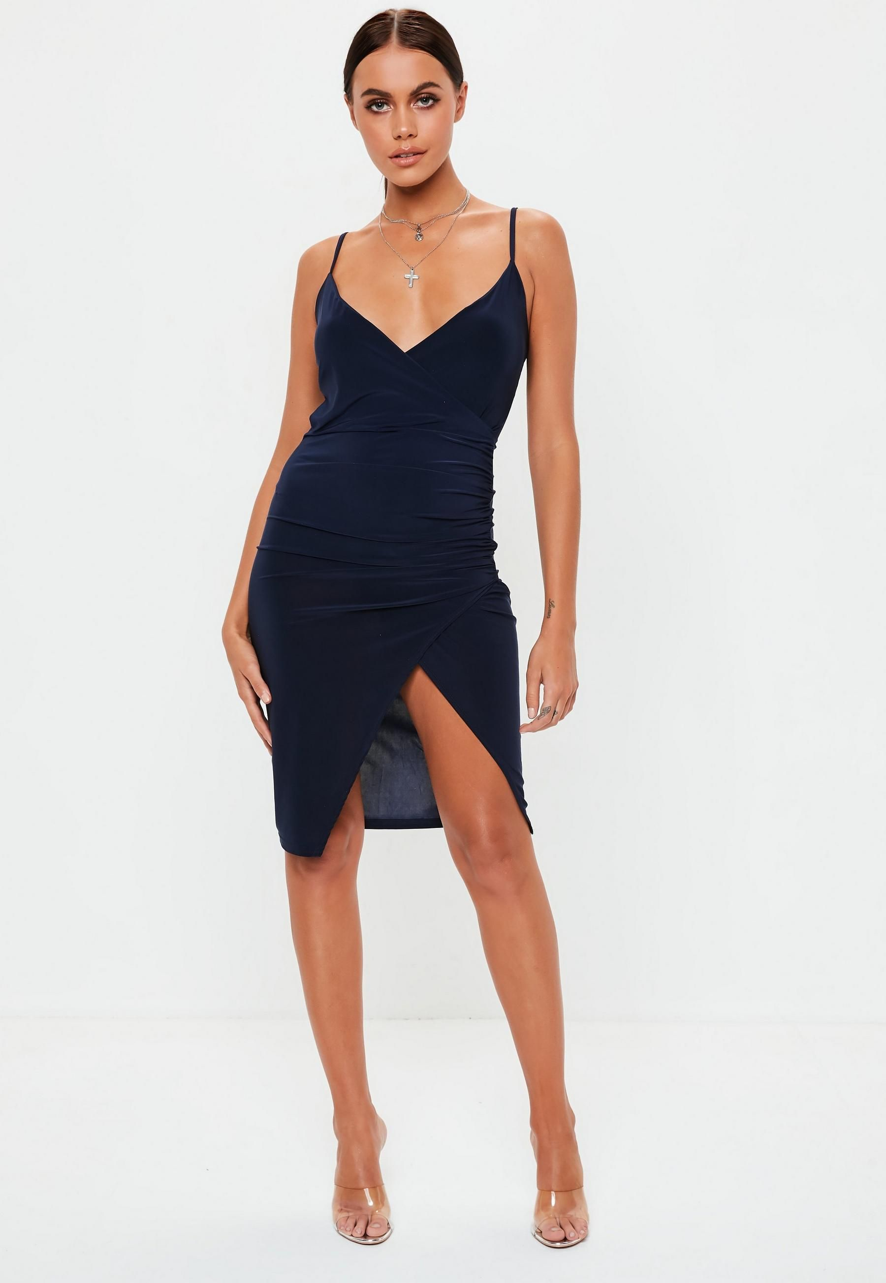 7186f87f Navy Strappy Slinky Wrap Bodycon Midi Dress in 2019 | Graduation ...