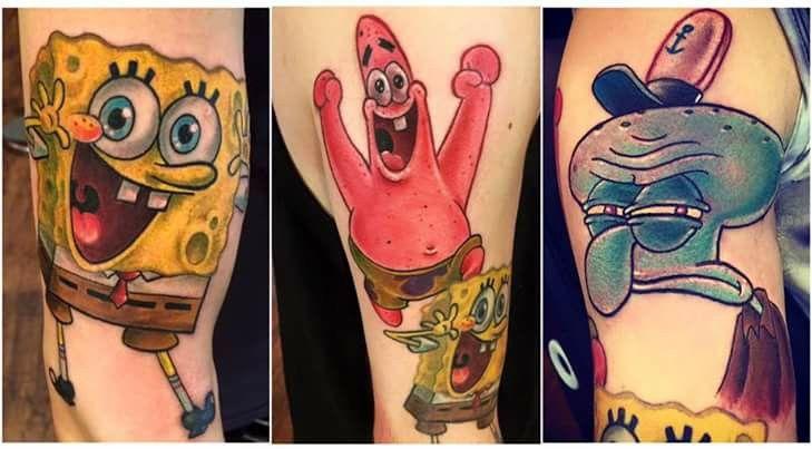 sleeve of spongebob characters mitchgrassi pentatonix