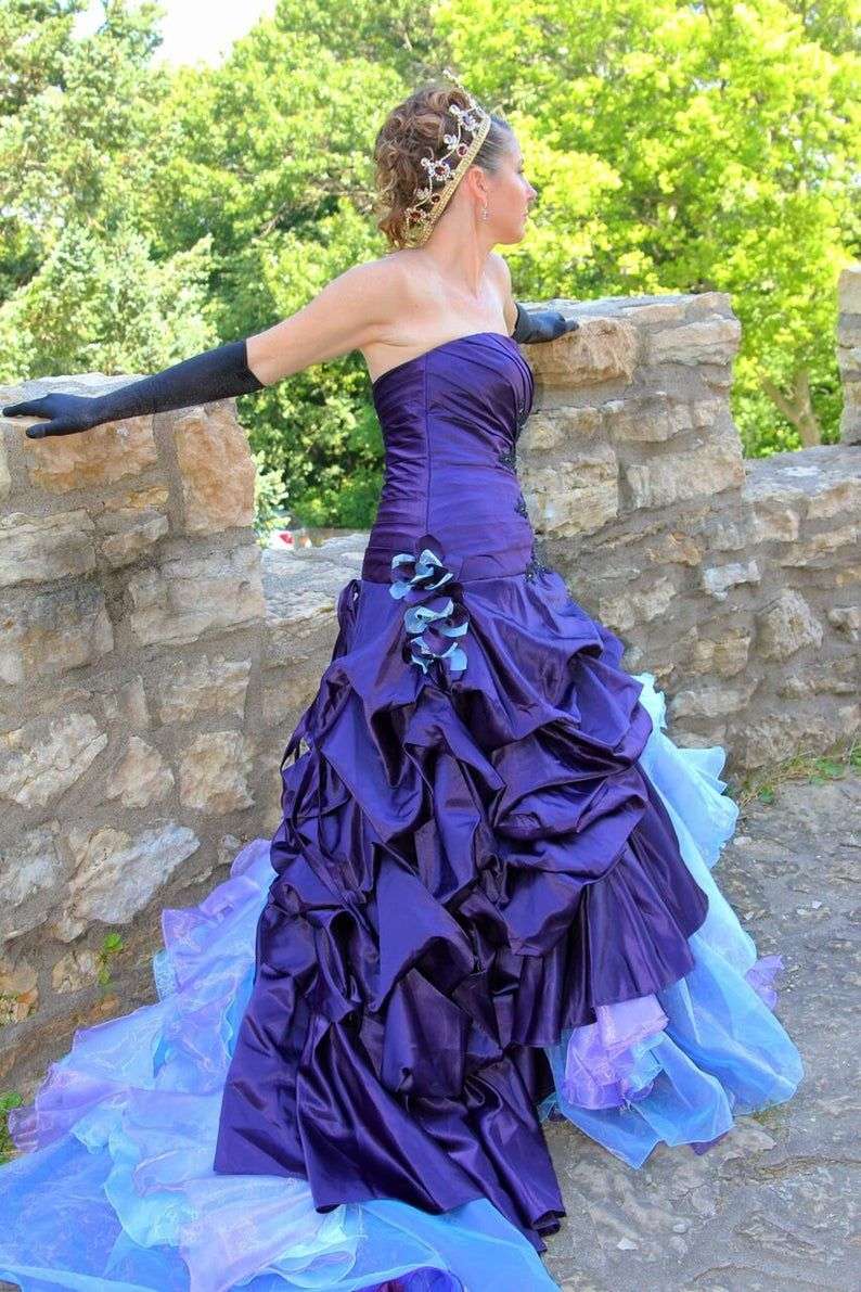 Purple Wedding Dress With Blue And Purple Organza Accents Etsy Purple Wedding Gown Purple Wedding Dress Colored Wedding Gowns [ 1191 x 794 Pixel ]