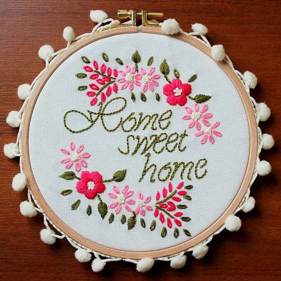 Home Sweet Home Wall or Door Hanging Embroidery by BoutiqueAmulet