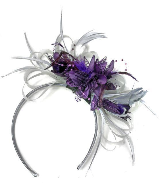 7cbd47a019eec Grey Silver   Dark Purple Fascinator on Headband AliceBand UK ...