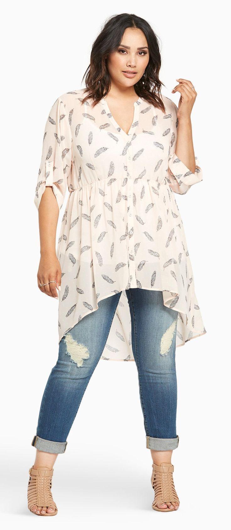 Plus Size Feather Print Chiffon Hi-Lo Top | Plus Size Fashion ...