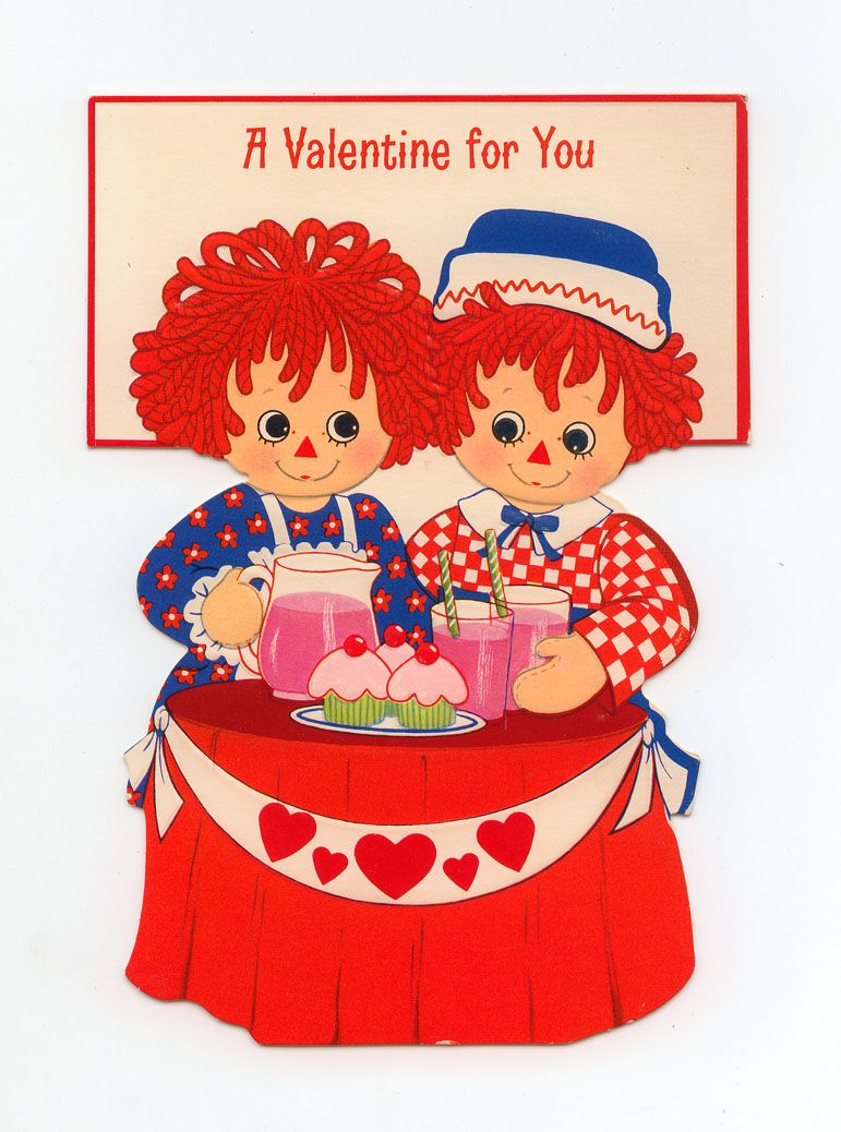 RAGGEDY ANN AND ANDY VALENTINE CARD  Raggedy ann Ann and Vintage