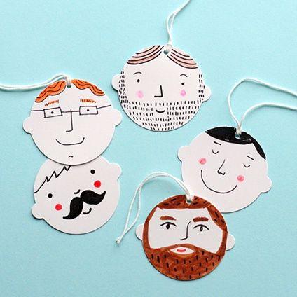 Decorate 'BLANK' gift tags for Father's Day. #isänpäivä #isä #isänpäiväkortti #kasvot