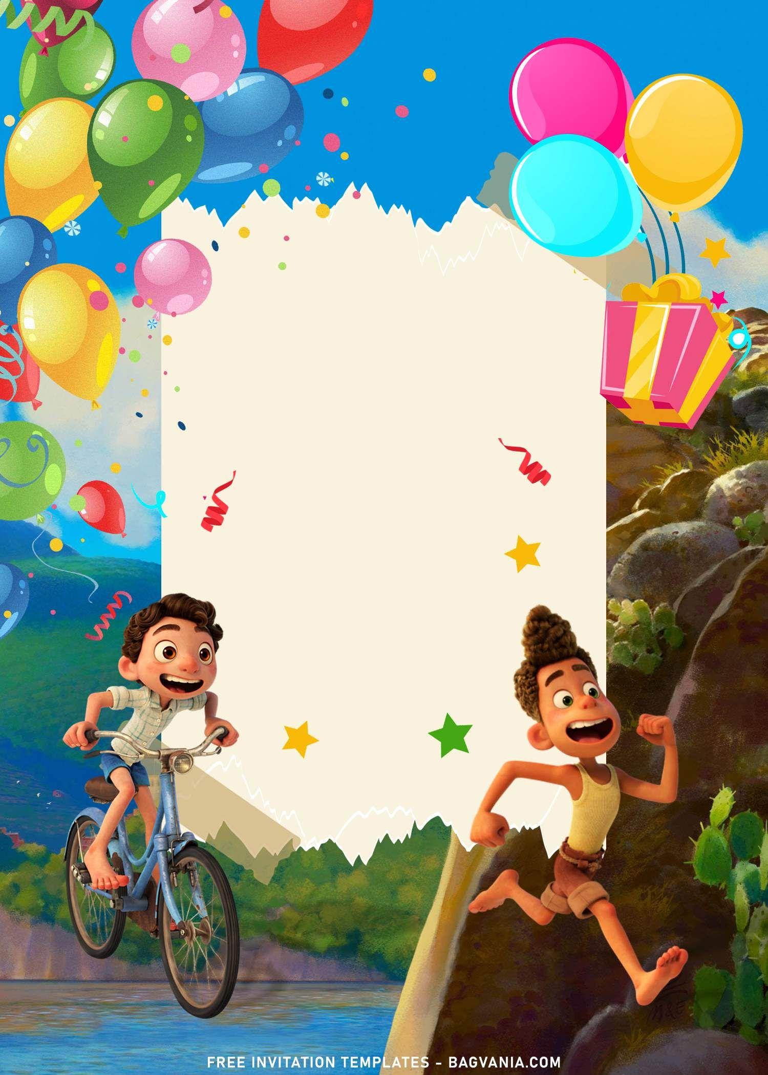 8 Disney Luca Birthday Invitation Templates For Your Kid S Birthday Party In 2021 Disney Invitations Kids Invitation Template Birthday Invitation Templates