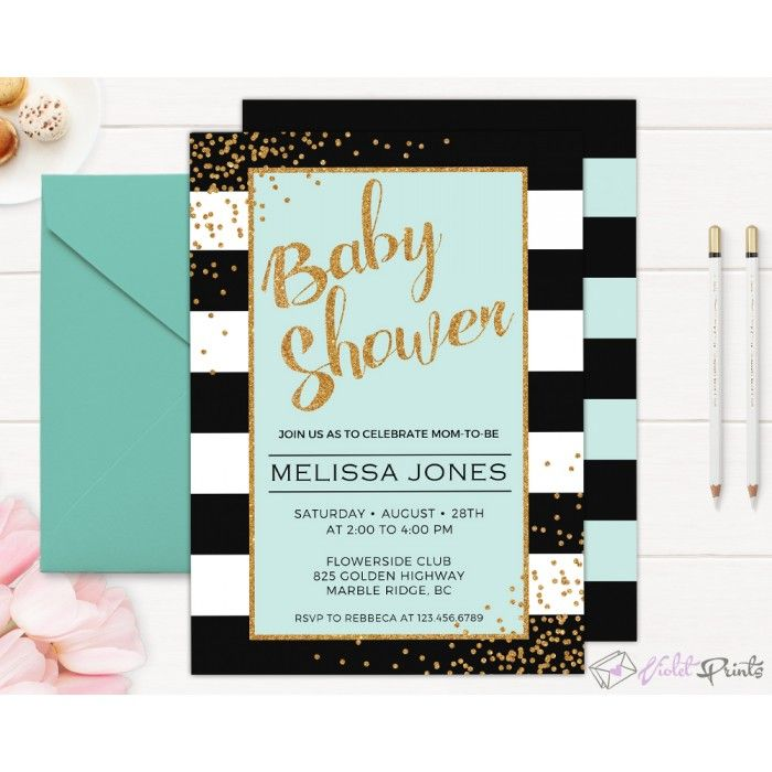 Black Mint And Gold Baby Shower Invitation Template  Baby Shower