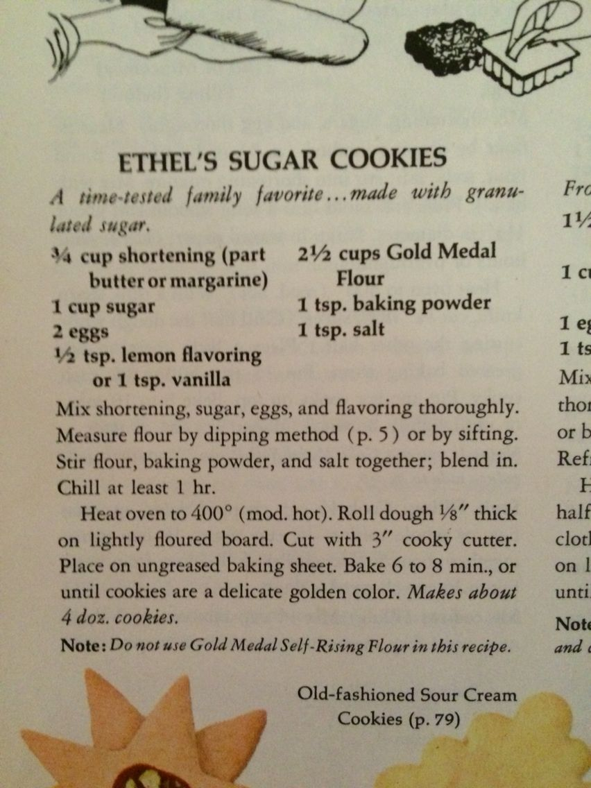 Ethel's Sugar Cookie Recipe - Old Betty Crocker | Food - Christmas ...