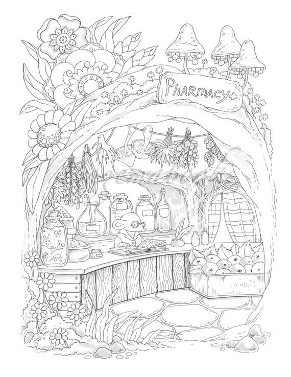 Nice Little Town 7 (Adult Coloring Book, Coloring pages