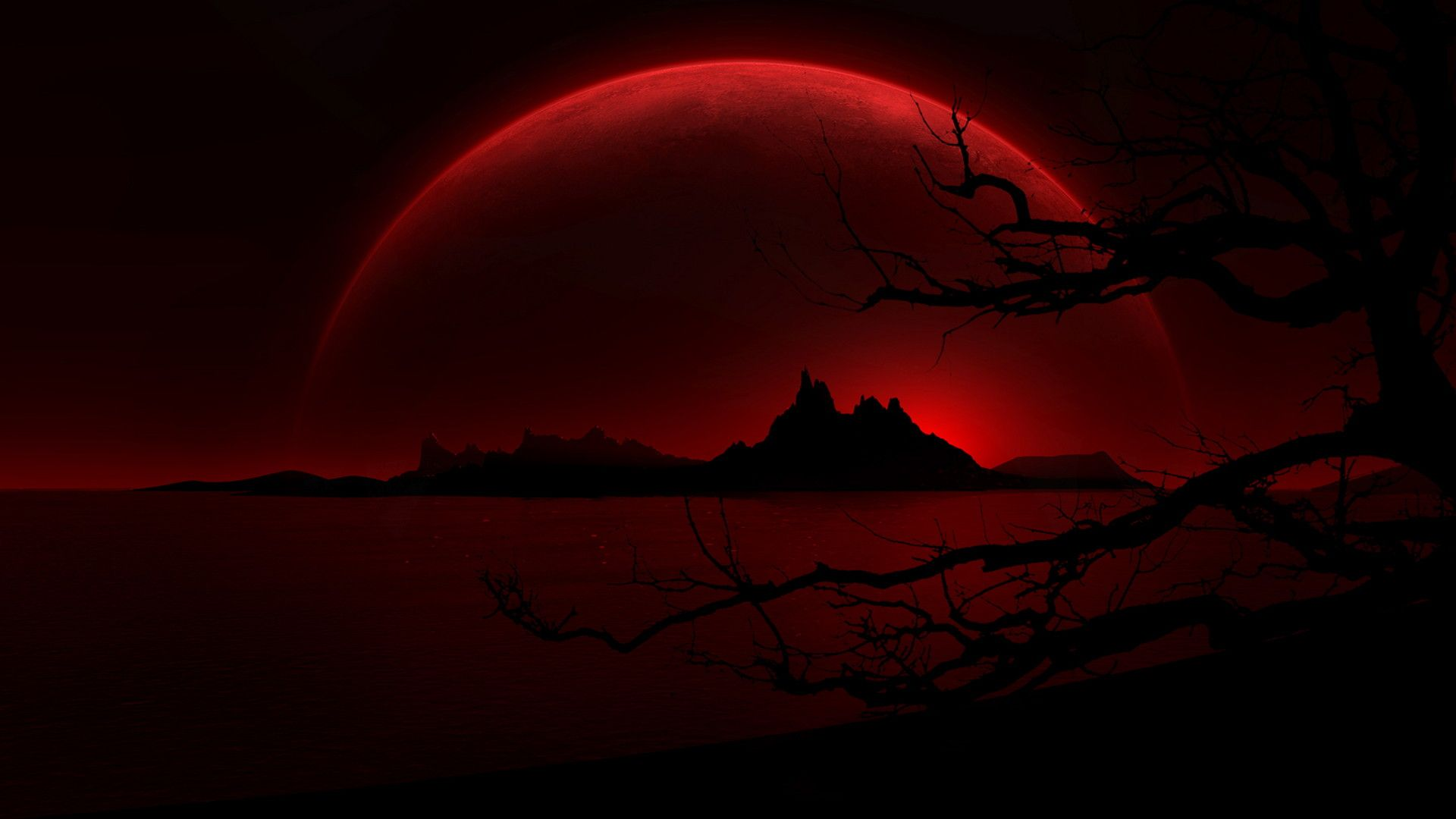 Black And Red Nature Wallpaper