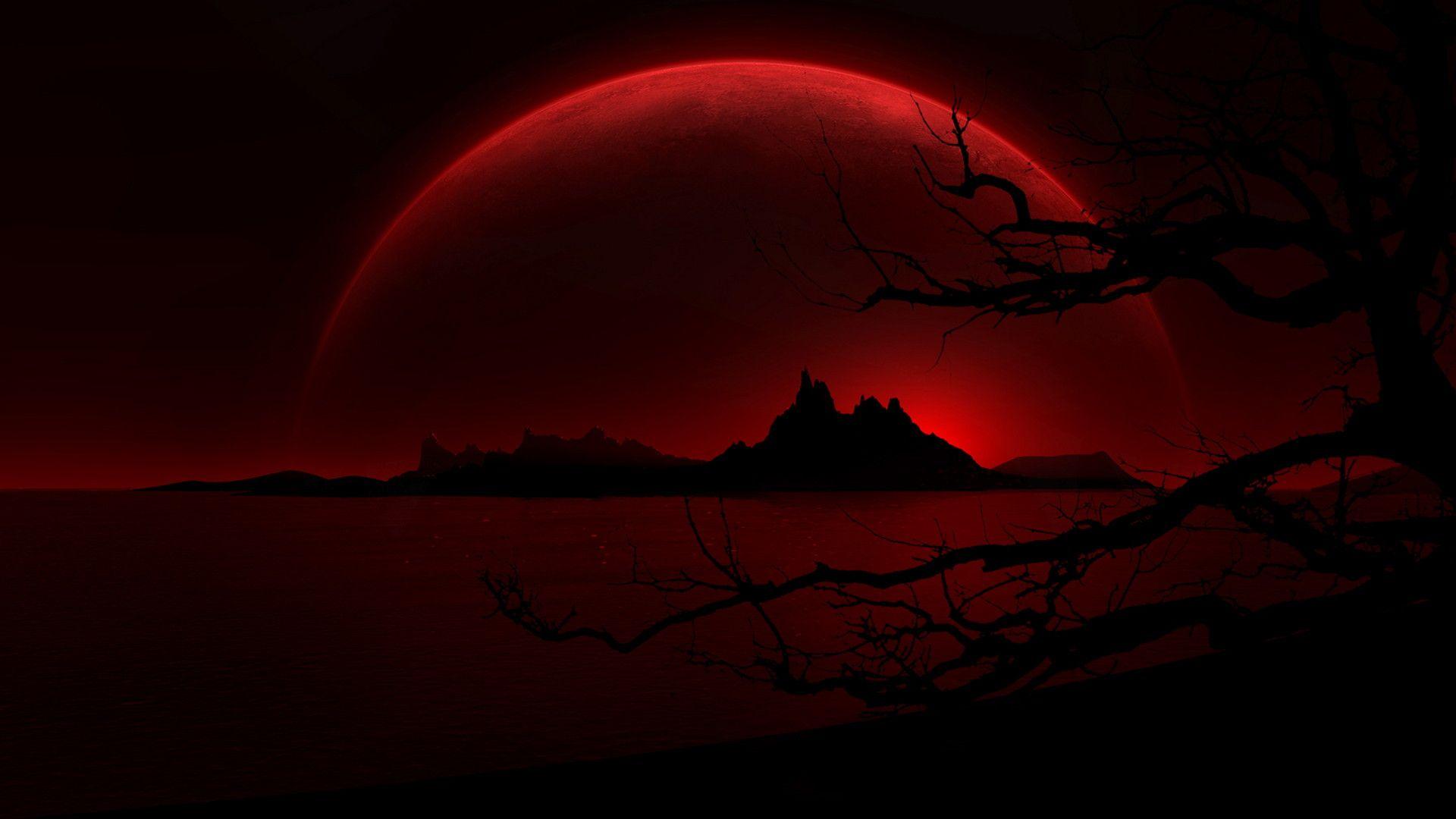 Red Moon Wallpaper Dark Red Wallpaper Dark Landscape Hd Dark Wallpapers