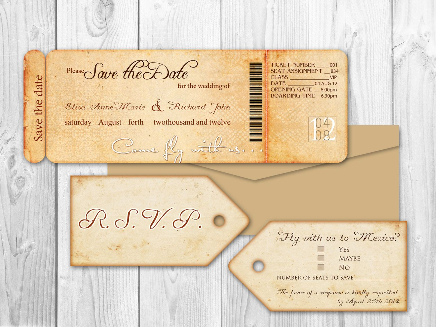 destination wedding invitation rsvp date%0A Save the date Boarding Pass and Luggage Tag rsvp  Honolulu suite Destination  Wedding