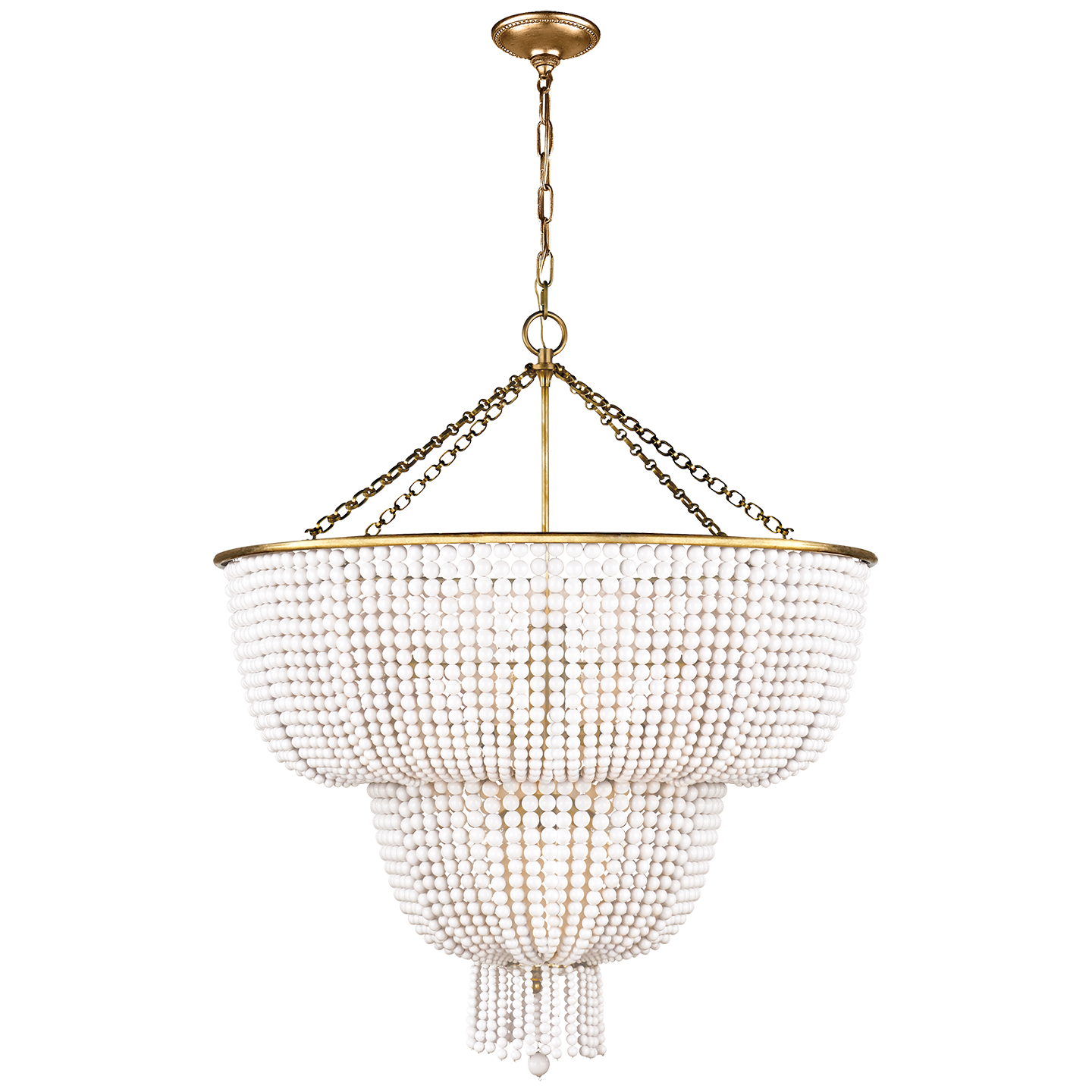 Hand Rubbed Antique Brass With White Acrylic Jacqueline Two Tier Chandelier DESIGNER Dining Room
