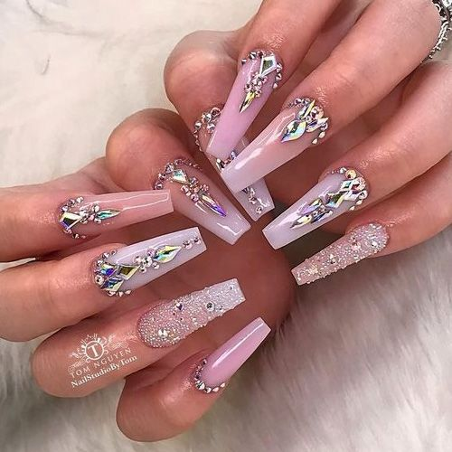 Stop 46 Beautiful Valentine S Day Nails Favnailart Com Bling Acrylic Nails Nails Design With Rhinestones Luxury Nails