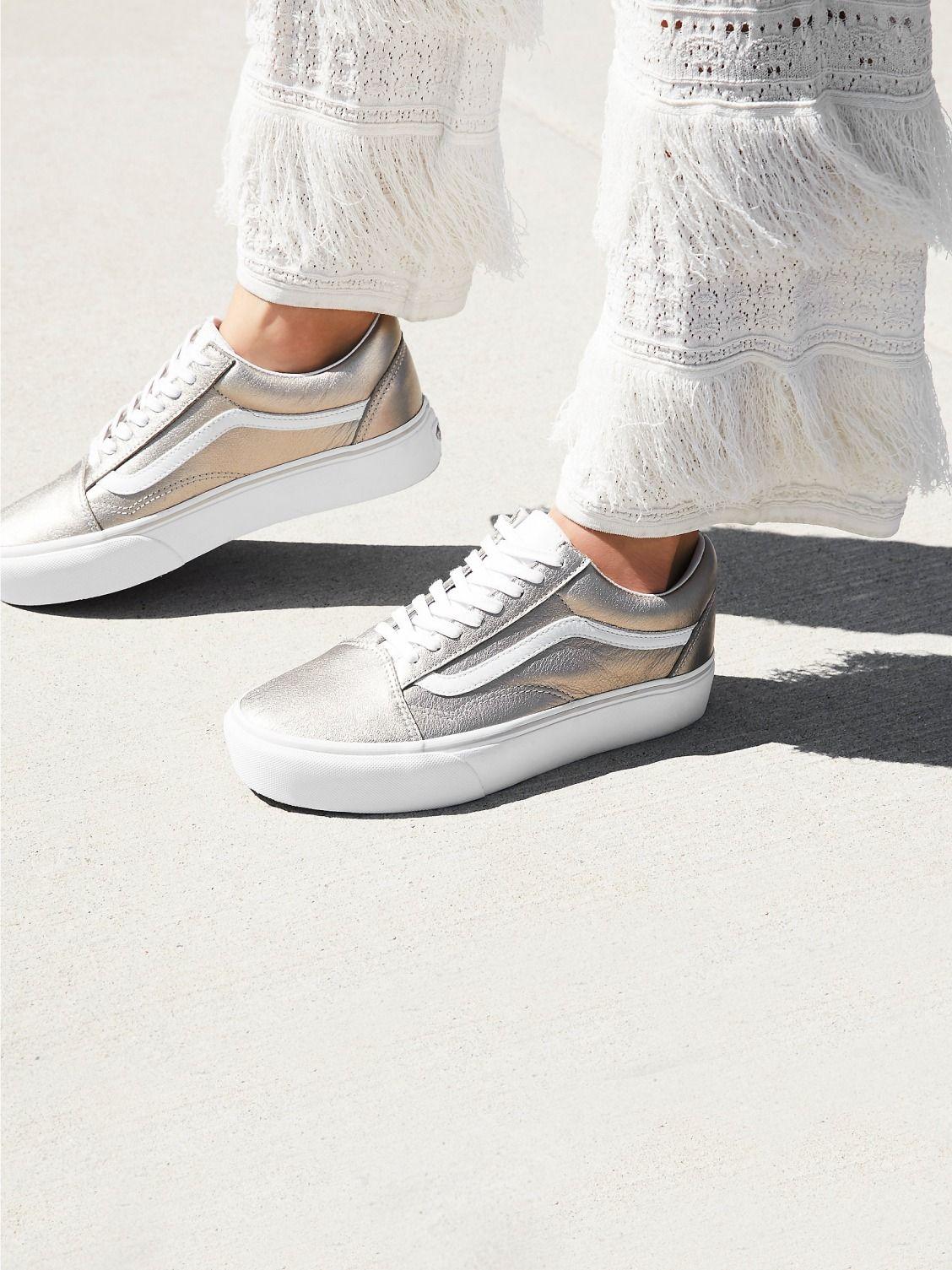 Vans Grey Gold Old Skool Platform Sneaker At Free People Clothing Boutique Platform Sneakers Shoes Vans Shoes