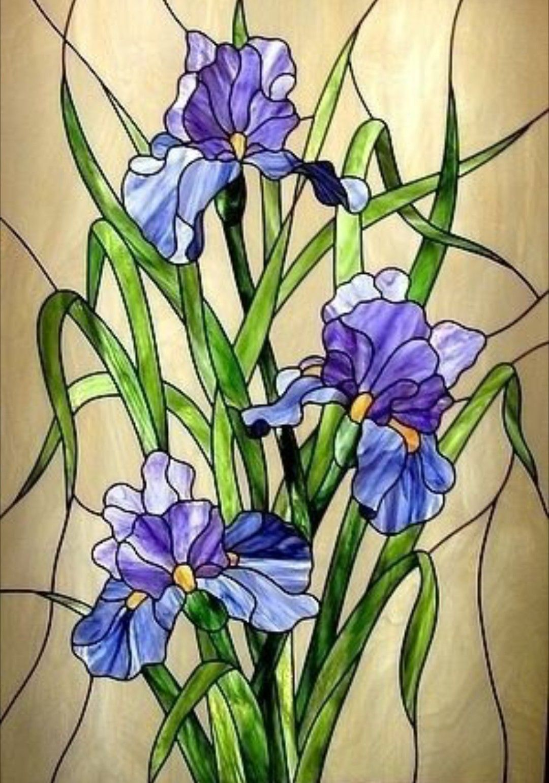 Stained Glass Iris Panel Stained Glass Flowers Stained Glass