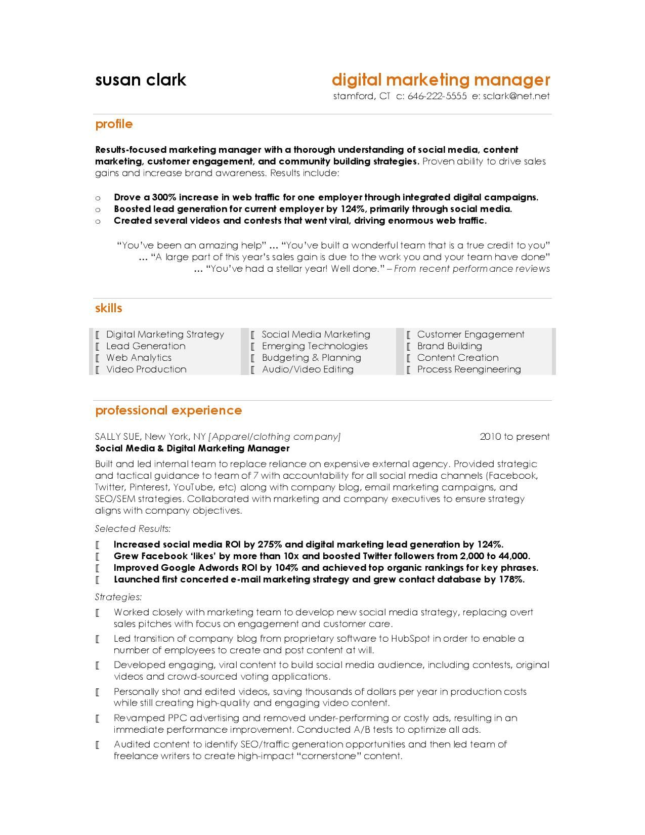 Digital Marketing Marketing Resume Digital Marketing Manager