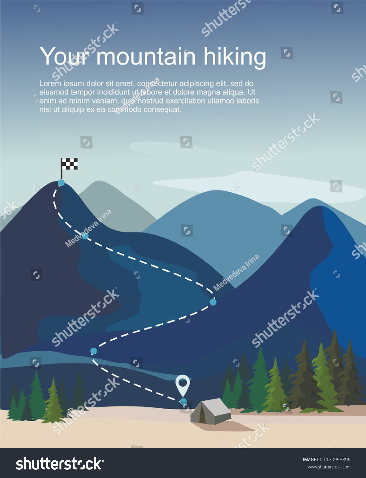 Hiking Route Infographic Layers Of Mountain Landscape With Fir Trees Vector Illustration Ad Ad Layers Mount Hiking Routes Mountain Landscape Landscape