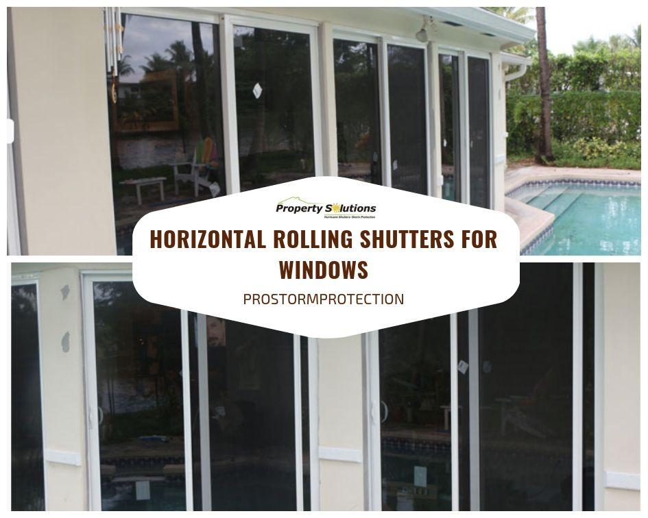 Hurricane proof horizontal rolling shutters windows