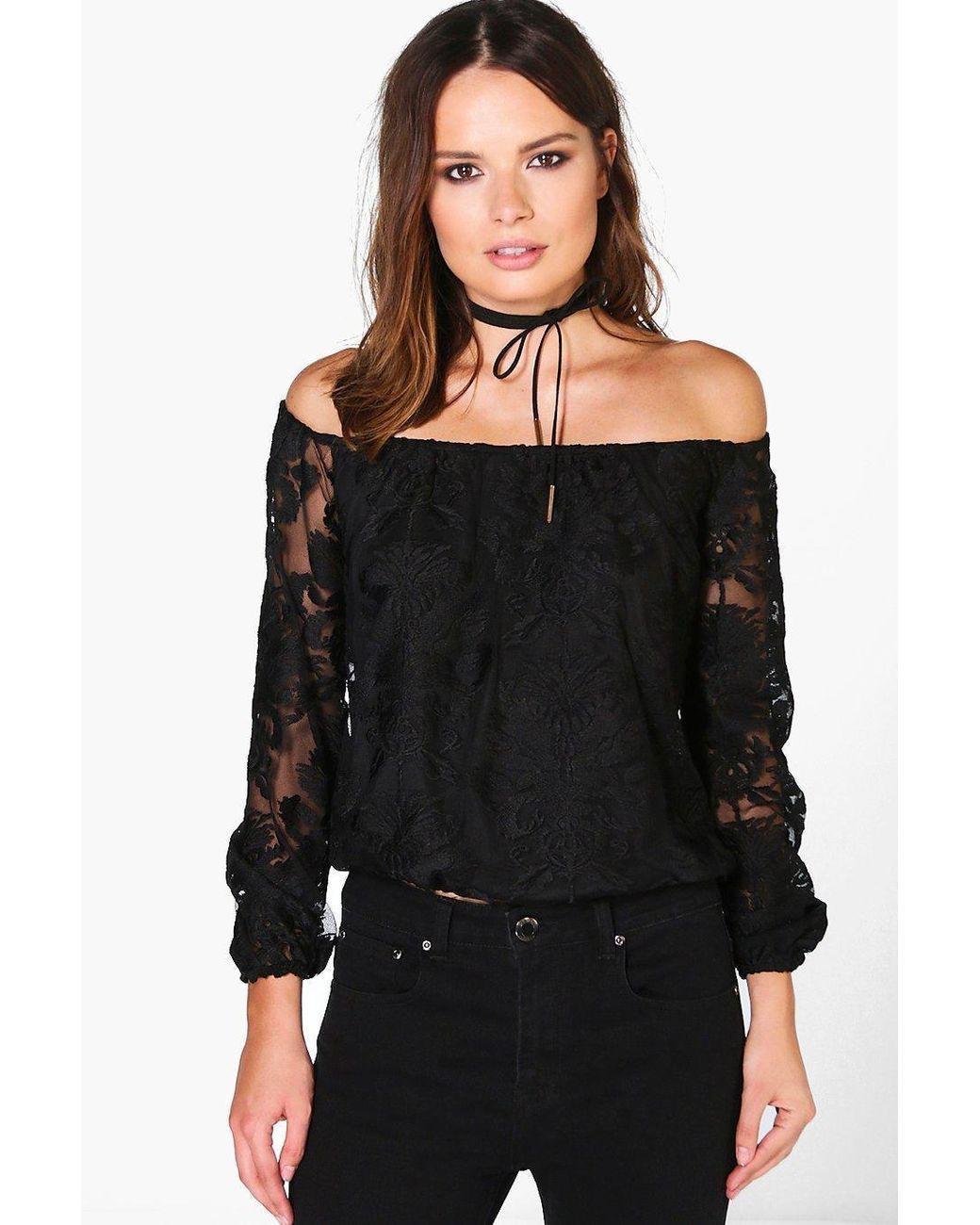 a080517e43236 Women s Black All Over Lace Bardot Top