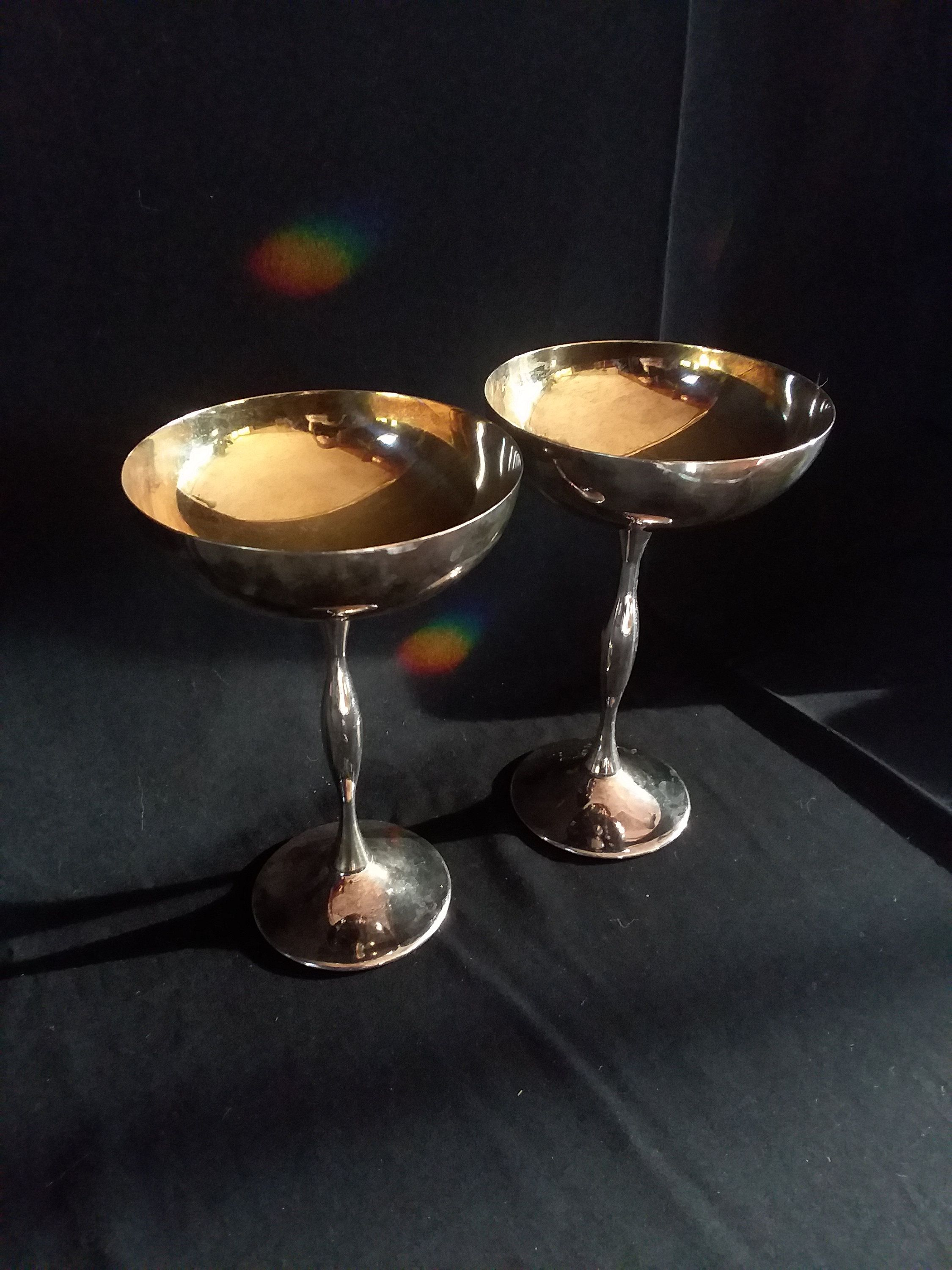 Italian Silver Plate, Champagne Coupes, Vintage Goblets, Wiccan Altar, Wiccan Decor, Wine Glasses, Wine Goblets, Champagne glass, Antique #wiccandecor