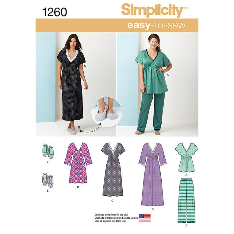 Simplicity Misses\'\' Nightgown in Three Lengths, Pajamas & Slippers ...