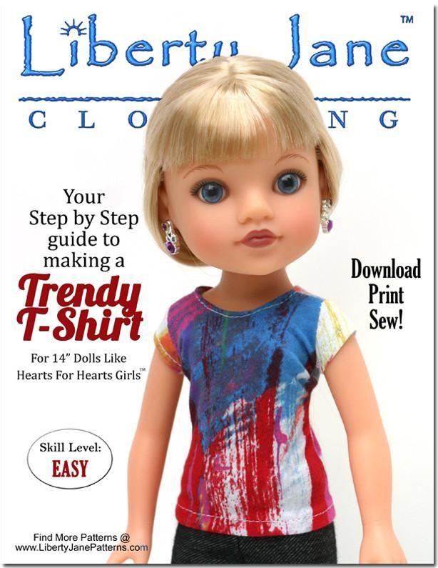 FREE T-Shirt Pattern for 13 -14 inch Dolls | American Girl Dolls ...