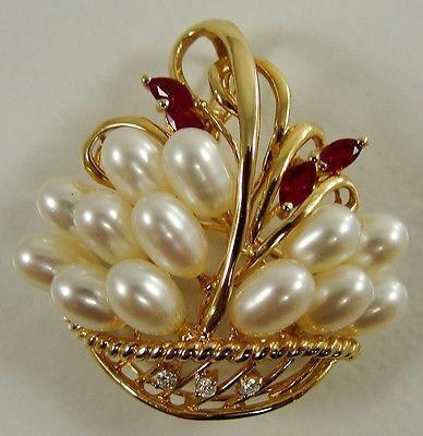 14k Yellow Gold Flower Basket Enhancer Pendant Pin Brooch Pearl Rubies Diamonds | eBay