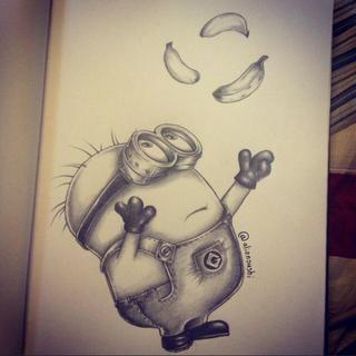 Pencil drawing minion   pencil drawings ♥ potlood ...  Easy Minion Pencil Drawings