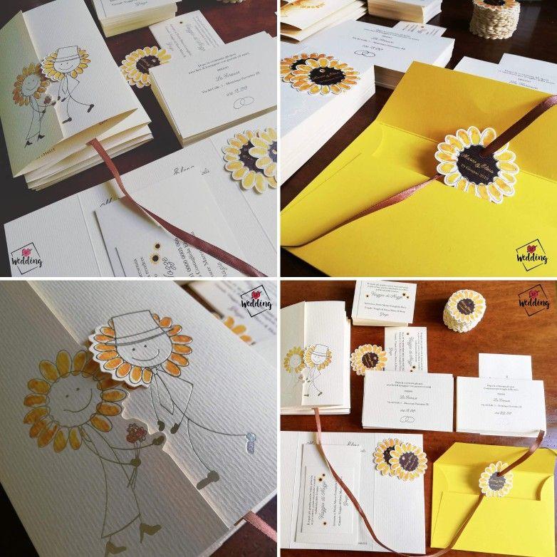 Partecipazioni Matrimonio Con Girasoli : Partecipazioni matrimonio tema girasole con tag per busta a forma di