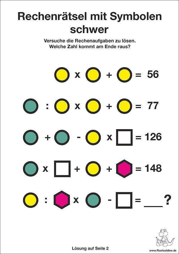 Zahlenrätsel Rechenrätsel mit Symbolen schwer | matek órákra ...