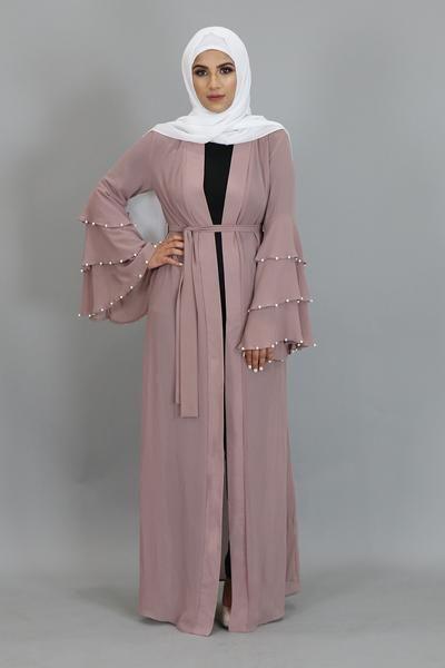 Photo of Rose Pink Chiffon Pearls Abaya Cardigan Dress