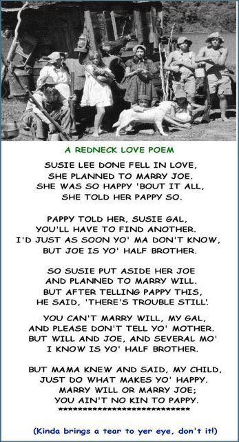 Redneck Love Poem !   Poems   Funny poems, Redneck love