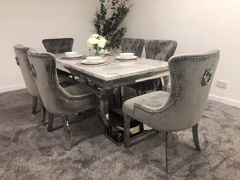 schwarze furniture arianna grey marble mirrored dining