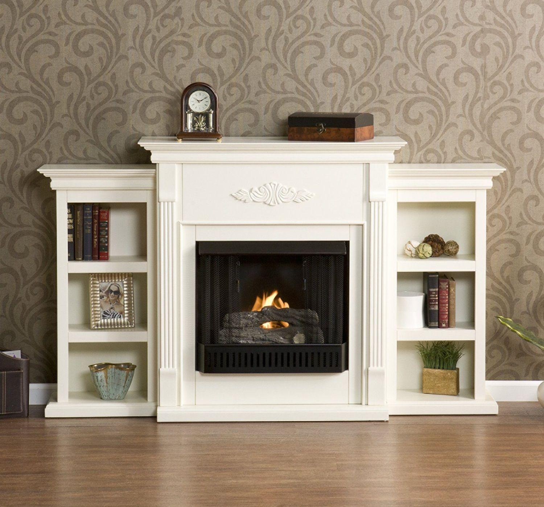 Fredricksburg gel fireplace w bookcases ivory