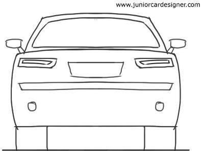 Car Drawing Tutorial 4 Door Car Rear View Car Drawings Drawing