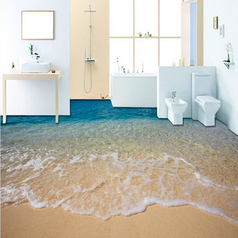Beach Wave Stickers Wallpaper Self Adhesion Customized 3d Photo Wallpaper Ground 3d Floor Mural Wall Floor Wallpaper Bathroom Wallpaper Waterproof Floor Murals
