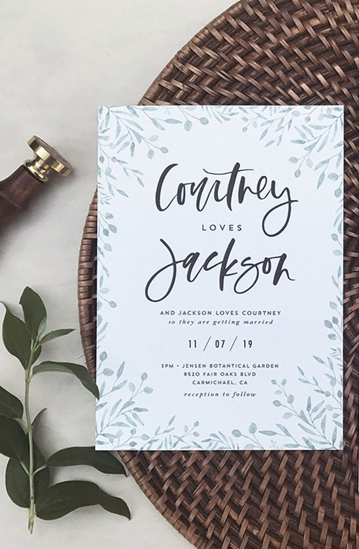 diy wedding invites rustic%0A Calligraphy wedding invitation  rustic wedding invitation  wedding greenery  invitation  leaves wedding