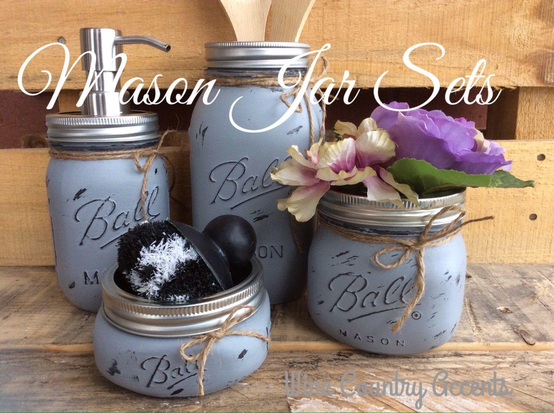 Painted Mason Jars. Mason Jar Kitchen Set. Kitchin Decor ...