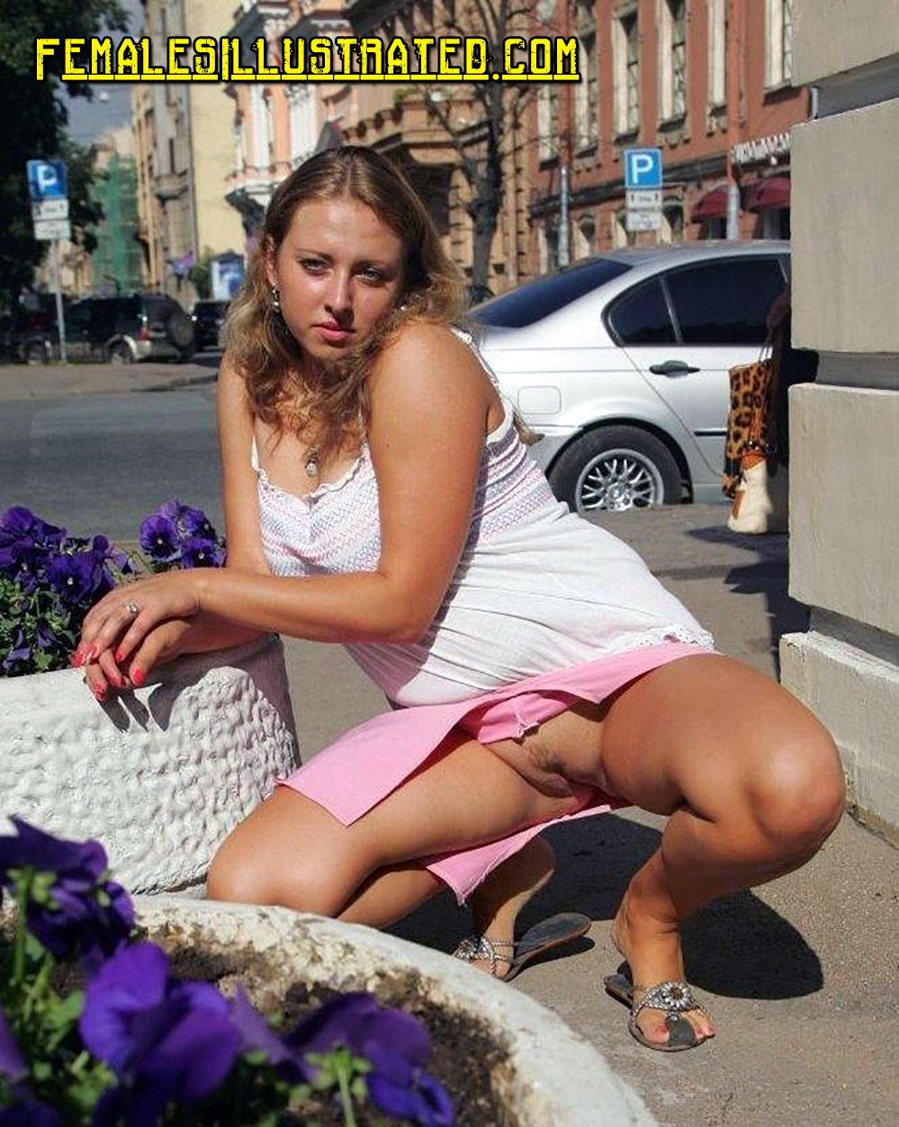 Public pantyless upskirt