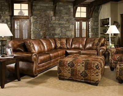 Saddle Sectional With Studs Two Piece Sectional Rustic