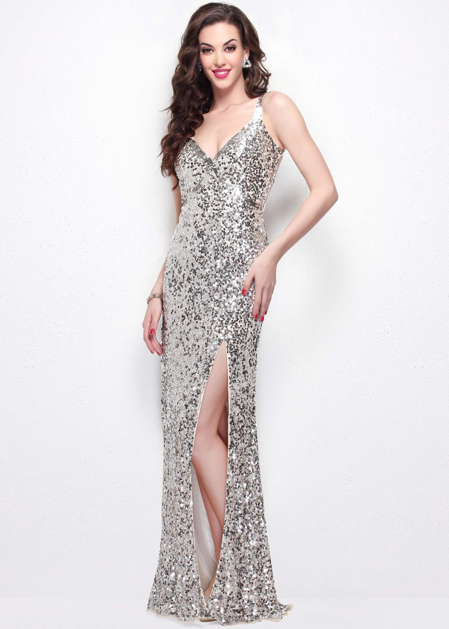 Primavera sparkly sequin cut out open back gown sequins nude