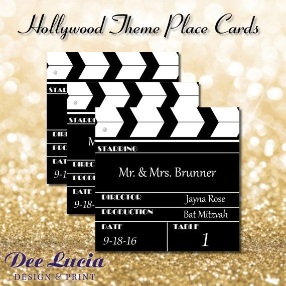 Hollywood Theme Clapboard Place Cards Printed With Guest Name Etsy Hollywood Theme Hollywood Party Theme Place Cards