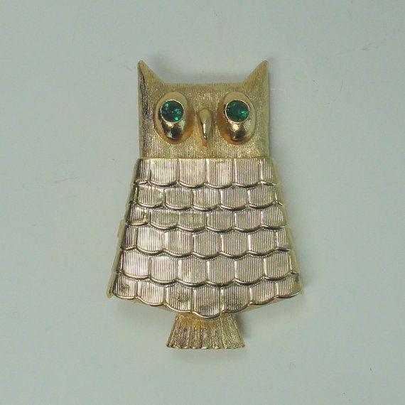 AVON Owl Solid Perfume Brooch / Pin by VintageVoola on Etsy