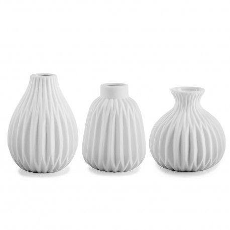 Cordelia Contemporary White Ceramic Bud Vase Trio